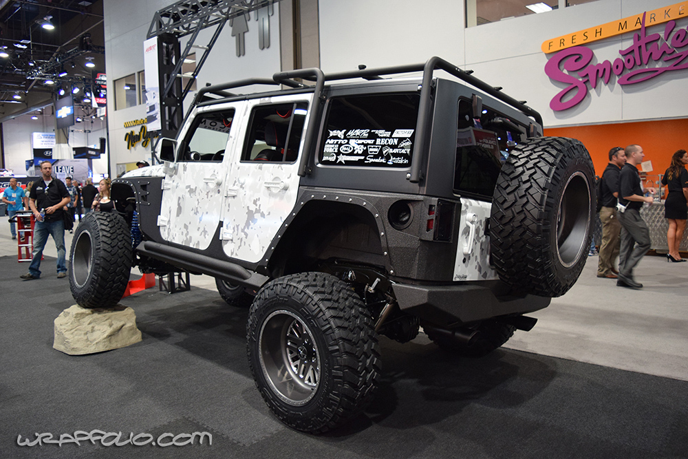 White Camo Jeep : Subtle arctic camo jeep wrap wrapfolio