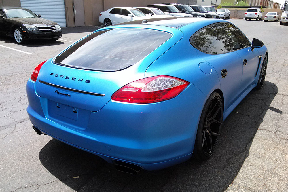 Matte Blue Metallic Porsche Panamera Wrap Wrapfolio
