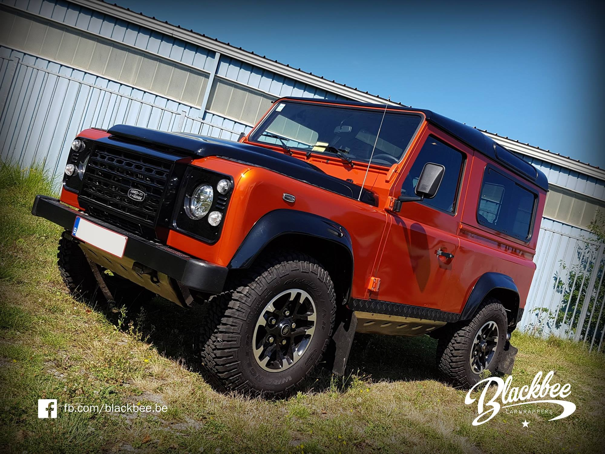 fiery orange land rover defender 90 wrapfolio. Black Bedroom Furniture Sets. Home Design Ideas