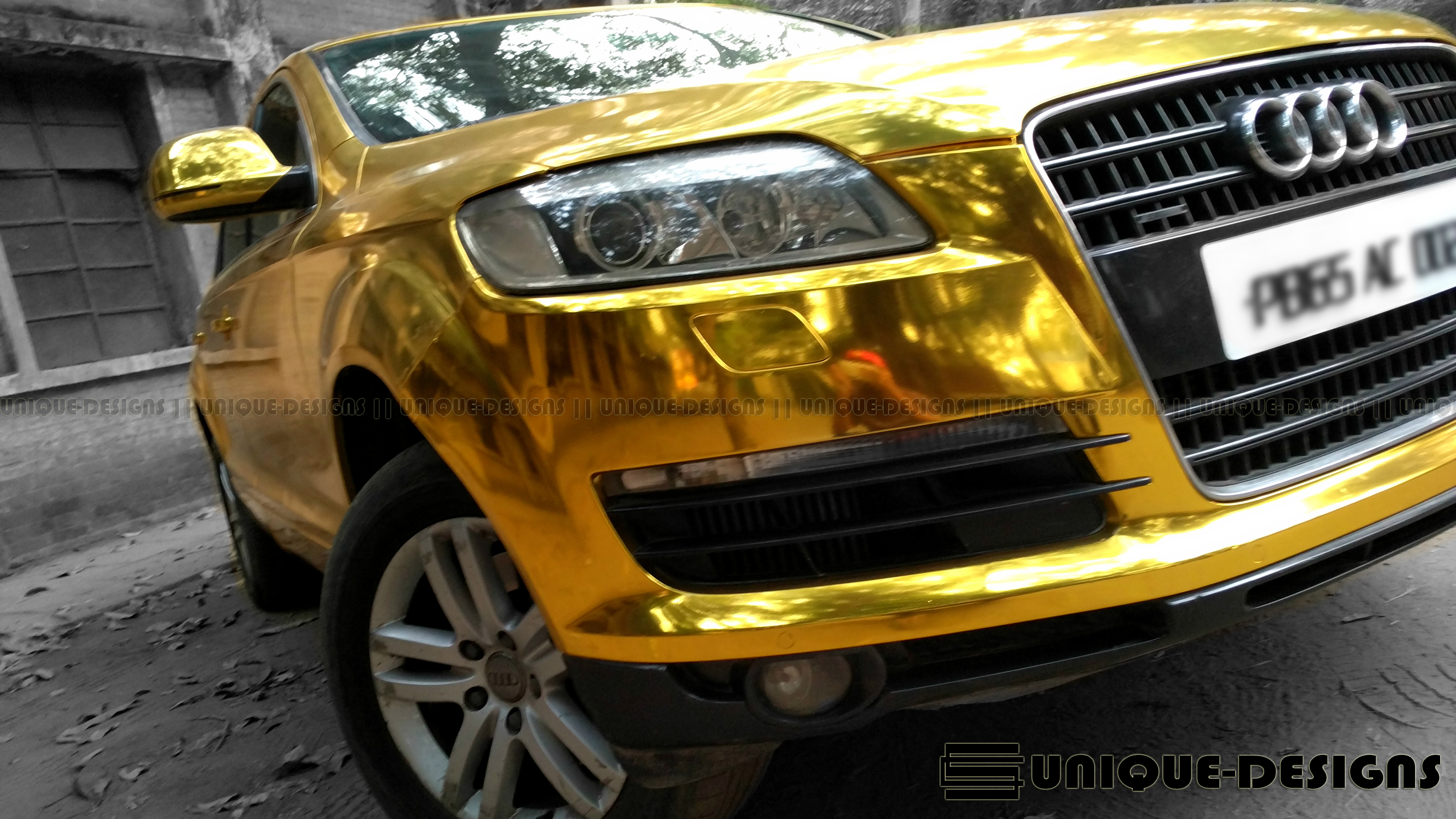 Gold Chrome Audi Q7 Wrap Wrapfolio