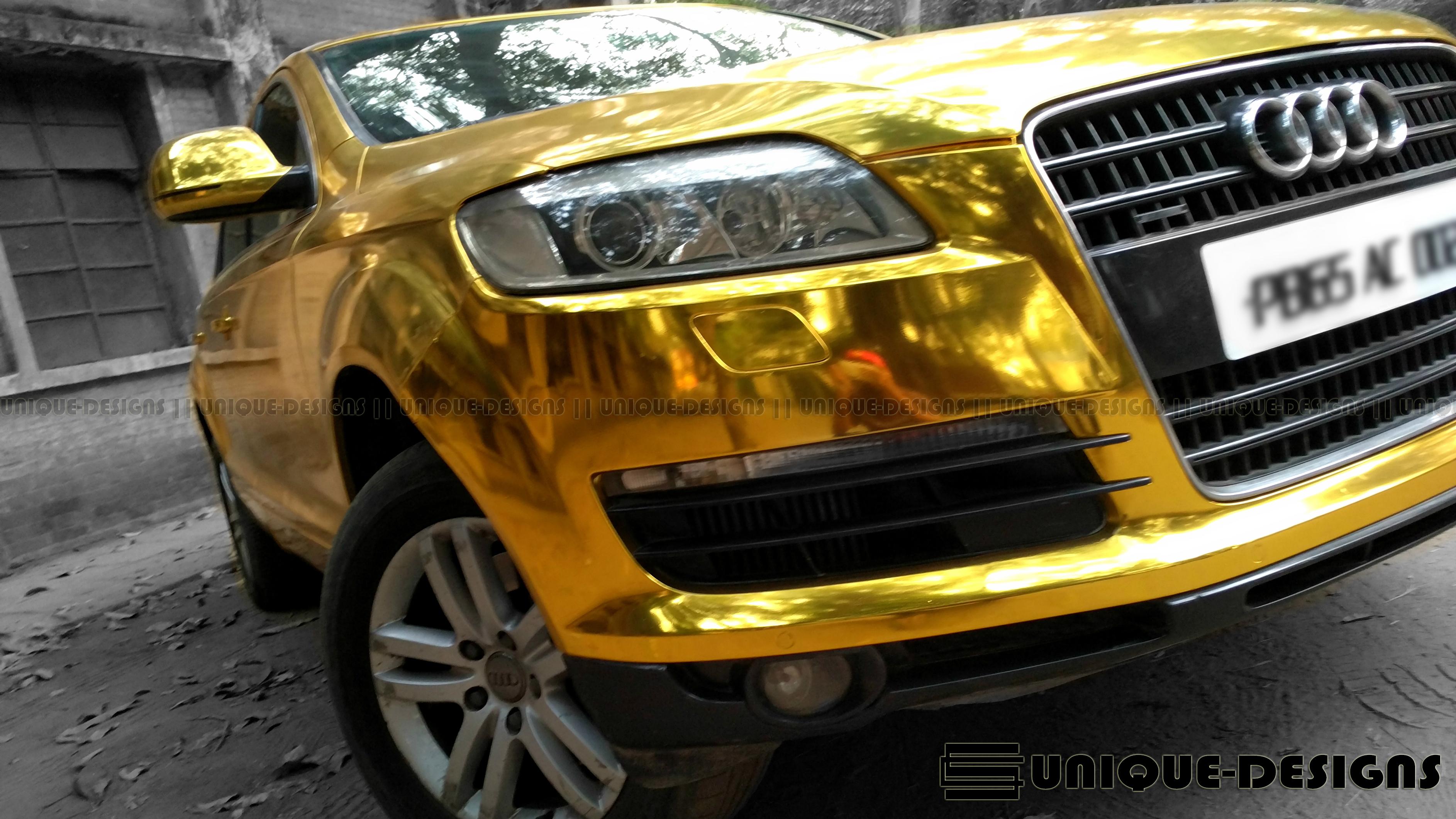 Gold Chrome Audi Q7 Wrap Wrapfolio